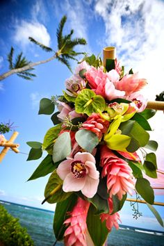 Costa Rica Wedding Ideas - Decor - At your tropical wedding be sure to decorate your arbor with incredible Heliconias and tropical flowers! Tropical Flowers, Tropical Flower Arrangements, Wedding Flower Arrangements, Exotic Flowers, Purple Flowers, Lilies Flowers, Lotus Flowers, Tropical Style, Cactus Flower