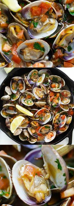 Italian Sauteed Clams – skillet sauteed clams with garlic, tomatoes, white wine, and parsley. This recipe tastes just like restaurants straight from Italy : rasamalaysia Clam Recipes, Seafood Recipes, Cooking Recipes, Healthy Recipes, Shellfish Recipes, Cooking Tips, Seafood Pasta, Seafood Dinner, Fish And Seafood