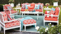 Technically, the collection is called Glen Isle Seating in White but Pagoda Patio Furniture sounds better to me. Outdoor Sofa, Outdoor Rooms, Outdoor Living, Outdoor Decor, Outdoor Patios, Fine Furniture, Rustic Furniture, Outdoor Furniture Sets, Antique Furniture