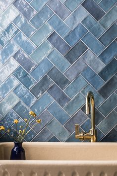 Transform your space with our Zellige Nouveau Metro Ocean Blue Metro Gloss Ceramic Wall Tile. Purchase this blue metro tile online or in our showrooms. Blue Tiles, Blue Bathroom Tiles, Blue Kitchen Tiles, Ceramic Tile Bathrooms, Mandarin Stone, Metro Tiles, Outdoor Tiles, Bathroom Interior Design, Bathroom Inspiration