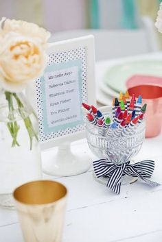 Kids Table Décor - Your younger guests will feel extra special with a framed list of their names. Source: Nadean Richards Photography #kidstabledecor #tabledecor
