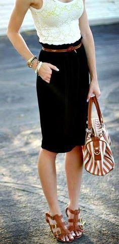 lace / pencil skirt / neutrals