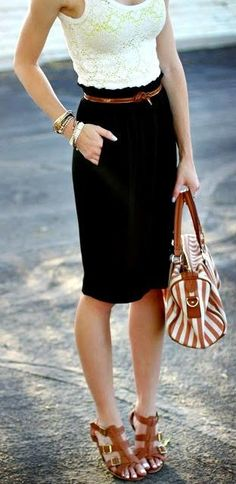 lace and pencil skirt