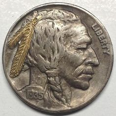 GEDIMINAS PALSIS HOBO NICKEL - GOLD FEATHER BRAVE - 1935 BUFFALO PROFILE Indian Skull, Hobo Nickel, Gold Feathers, Buffalo, Classic Style, Coins, Carving, Brave, Stuff To Buy