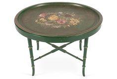 Regency-Style Green Metal Oval Table on OneKingsLane.com