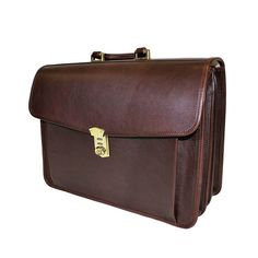 662bf05368 Terrida Marco Polo Italian Tan Leather Briefcase