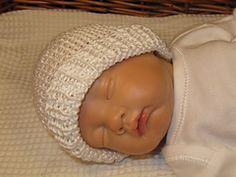 This is my FREE Preemie Baby Beanie Hat knitting pattern.