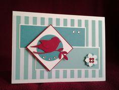 Stampin Up Vogelstanze Kleine Blüte Itty Bitty DP Frisch und farbenfroh Jade Bermudablau Glutrot