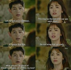 Song Joong-ki as Yoo Shi-jin and Song Hye-kyo as Kang Mo-yeon Descendants of the sun Korean Drama Best, Korean Drama Quotes, Desendents Of The Sun, Song Joong Ki Birthday, Songsong Couple, Couple Goals, Song Joon Ki, Sun Song, Korean Actors