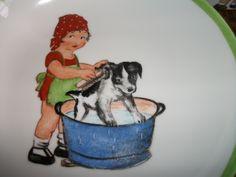 assiette enfant et gobelet assortis peints main sur porcelaine : Art céramique par porcelaine-amalexan