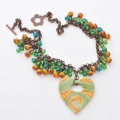 Orange Ceramic Heart Pendant Necklace, Green Teal, Blue, Czech Beaded Fringe, Folk Art Style, Wearable Art Jewelry, Vintage Style Brass Chain, Handmade, #ArtwyrksJewelry, #JeraLunaDesigns
