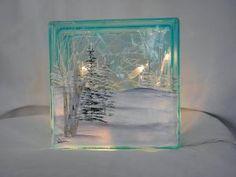 Glass Block Light-Winter Scene-Blue Glass-Night Light Lamp by patti