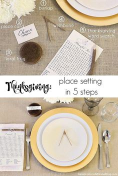 Set a simple Thanksgiving table with 5 elements seen here, plus a free printable word search.
