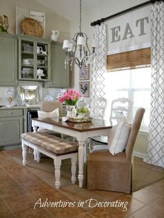 Table for Eat In Kitchen. Table for Eat In Kitchen. Eat In Kitchen Table Like the Round Table with One Bench Kitchen Decorating, Decorating Ideas, Decor Ideas, 31 Ideas, Window Decorating, Craft Ideas, Cortinas Country, Farmhouse Kitchen Curtains, Farmhouse Table