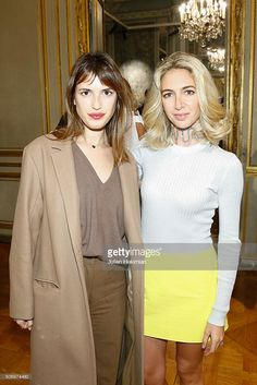 Jewelry Designer Sabine Getty and Jeanne Damas attend the 'Memphis' Fine jewelry collection launch as part of Paris Fashion Week at Mona Bismarck American Center on January 26, 2016 in Paris, France.