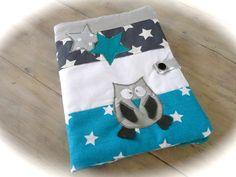 Carnet de santé Chouette et étoiles bleu canard, gris et blanc