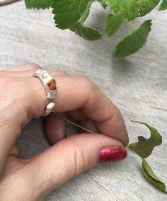 Garnet Ring, Garnet Sterling Silver Ring, Raw Stone Ring, Raw Garnet Ring, Birthstone Ring, Raw Gesmtone Ring, Boho Jewelry, Adjustable Ring by NaturefyingJewelry on Etsy