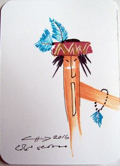ACEO Original Abstract People Savage Warrior Cheif Feathers Ink Illustration | eBay