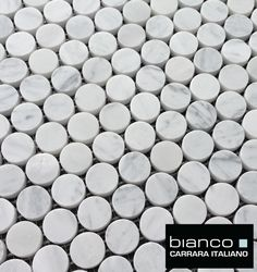 "Just $12.95 Carrara Bianco 1"" Penny round Marble Mosaic Tile.  The grout provide a great anti-slip surface perfect for shower floors or bathroom floors. #carrara"
