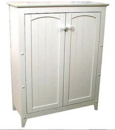 Traditional Two-Door Cabinet With 3 Shelves Home Office Furniture White Finish