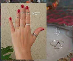 Pyramid Midi ring Triangle Band Ring Sterling silver Simple every day wearing ring Skinny Elegant ring Any sizes