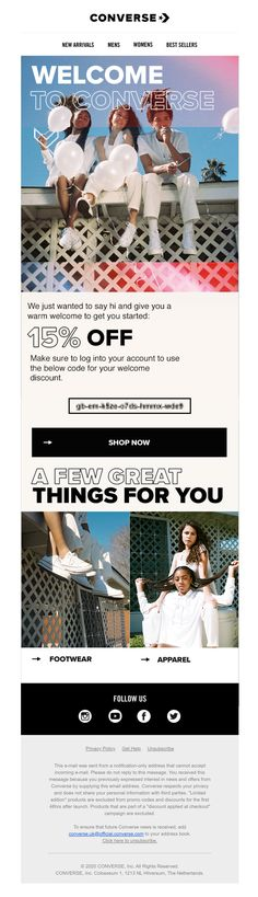 Welcome email from Converse with discount coupon code #EmailMarketing #Email #Marketing #Discount #Welcome #Fashion