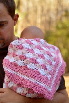 Happy Father's Day!  Crochet pattern for baby blanket.  Baby with Dad.  Ravelry: Baby Blanket Shells of Love pattern by Darleen Hopkins