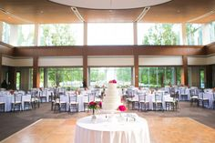 Be sure your cake is front and center! Not only will alll of your guests want to see your cake cutting, they also want to simply admire your cake! Wedding Reception, Wedding Venues, Indianapolis Museum, Art Museum, Outdoor Spaces, Catering, Dream Wedding, Table Decorations, Weddings