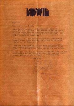 David Bowie letterhead
