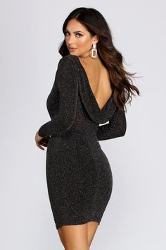 Windsor Showstopper Glitter Mini Dress in Black Going Out Dresses, 15 Dresses, Dresses For Sale, Glitter Dress, Windsor Dresses, Long Sleeve Mini Dress, Special Occasion Dresses, Holiday Dresses, Dress Size Chart Women