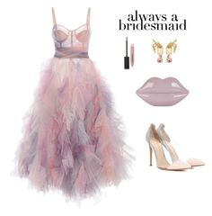 """#alwaysabridesmaid"" by meli-g35 ❤ liked on Polyvore featuring Marchesa, Gianvito Rossi, Oscar de la Renta, Burberry, Lulu Guinness and alwaysabridesmaid"