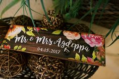 Floral painted wooden wedding sign - Anna Kim Photography