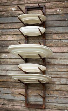 Rustic Iron Platter Rack