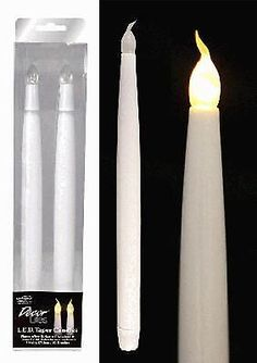 """11"""" LED FLAMELESS FLICKERING WEDDING PARTY TABLE TAPER CANDLES BULB 2 PACK"""