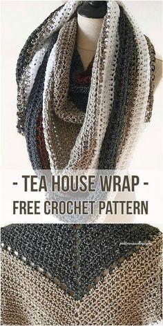 Tea House Wrap - [Free Crochet Pattern] Crochet wrap #crochet #fashion #crochetlove #freepattern