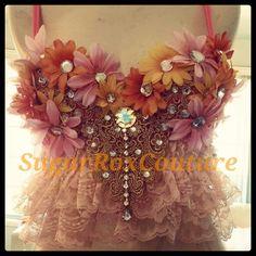 Vintage flower rave bra. SugarRoxCouture.com