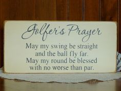 "Primitive ""golfer's Prayer"" Wooden Sign - Your Color Choice"