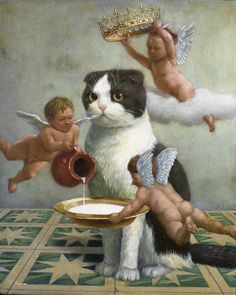 painting of a Scottish Fold cat, one of a series of three by surrealist Tokuhiro Kawai born Tokyo 1971 - surrealist indeed. I Love Cats, Crazy Cats, The Dog Star, Vintage Illustration, Renaissance Kunst, Scottish Fold, Visionary Art, Aesthetic Art, Cat Art
