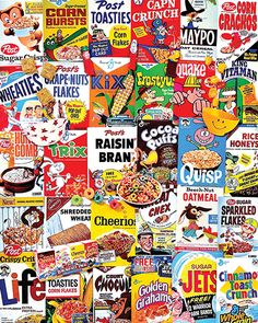 """Cereal Boxes"" ~ a 1000 piece jigsaw puzzle by White Mountain Puzzles. Artist: Charlie Girard"