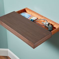 Hiding Places In Your Home Keep all of your valuables secret AND safe.Keep all of your valuables secret AND safe. Home Diy, Rustic Wood Floating Shelves, Wood, Diy Shelves, Wood Diy, Secret Hiding Places, Diy Furniture, Shelves, Woodworking