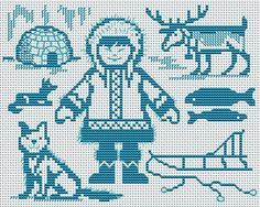 In the land of the Inuit Filet Crochet Charts, Knitting Charts, Knitting Patterns, Cross Stitching, Cross Stitch Embroidery, Machine Embroidery Patterns, Embroidery Ideas, Snitches Get Stitches, Cross Stitch Animals