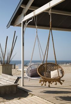 Would love to hang these guys in a sunny spot in my dream beach house Coastal Style, Coastal Living, Coastal Decor, Macrame Hanging Chair, Hanging Chairs, Swing Chairs, Macrame Chairs, Porch Chairs, Hanging Beds