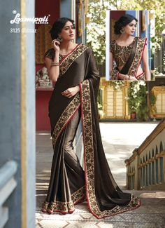 Plain saddle brown satin chiffon saree is dignified by its impressive jari work on border  brocate blouse piece.
