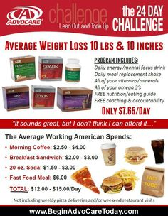 AdvoCare 24 Day Challenge... Stop wasting money on junk and get healthy! www.beginadvocaretoday.com #advocare #24daychallenge #advocare24daychallenge