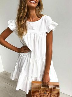 White Outfits, Dress Outfits, Trendy Outfits, Vestidos Color Blanco, Vestido Casual, White Dress Summer, White Casual, Spring Dresses, Summer Casual Dresses