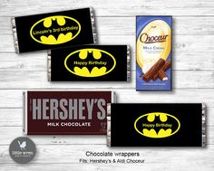Batman Party Chocolate Wrapper Hersheys Wrapper Candy