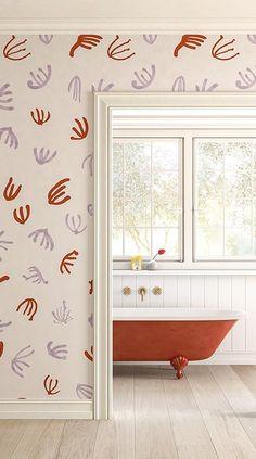 WALLPAPER : CORAL©️️️ // LILAC + RED - drop it MODERN - Modern and contemporary interior designed wallpaper for the studio and home. | #wallpaper #InteriorDesign #HomeDecor #bedroom #bathroom #kitchen #LivingRoom #designer #luxury #traditional #FarmHouse #MidCenturyModern