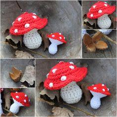 Vliegenzwam klein & groot Crochet Fall, Knit Crochet, Crochet Toys Patterns, Stuffed Toys Patterns, Crochet Mushroom, Crochet Decoration, Granny Square Crochet Pattern, Christmas Knitting, Crochet Gifts