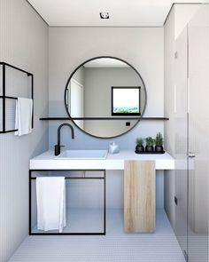 Home Interior Layout Mirror With Shelf Q.Home Interior Layout Mirror With Shelf Q Modern Bathroom Design, Bathroom Interior Design, Decor Interior Design, Minimal Bathroom, Simple Interior, Interior Decorating, Interior Ideas, Bathroom Designs, Contemporary Interior