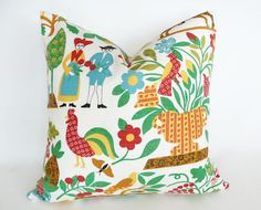 Colorful country folk art pillows to add a pop of color to your sofa or kitchen bench. Beautiful fun bright pillows in turquoise, yellow, red,